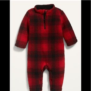 GAP Unisex Plaid Sherpa 1/4-Zip One-Piece for Baby